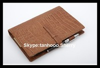 A4 soft leather Notebook Organizer leather loose-leaf metal ring diary cover