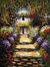 Factory Price Unique Design Handmade Garden Beautiful Landscape Oil Painting on Canvas for Wall Decoration