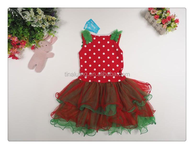 2014 new christmas baby girls dresses kids santa claus polka dress