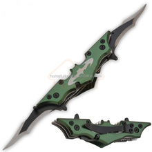 11.5 Inch stainless steel Double blade folding pocket Bat Shaped Collectible Knife