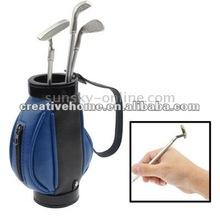 Golf Bag Pen Holder with 3 Golf Clubs Shape Ball Pens (Blue)