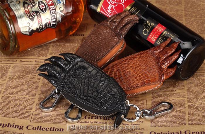 2016 Hot Sale Custom brand logo crocodile leather key case for car _11