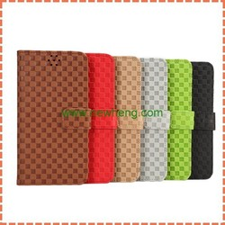 Newest Grid pattern wallet flip stand pu leather case for Samsung Note5