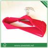 roses color Whoelsale plastic velvet coat hanger with tie bar