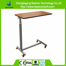 Chinese BT-AT010 Hospital Furniture ABS Plastic Over Bed Table patient dining table adjustable height table