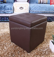 Brown Folding Storage Pouffe Button Style Footrest Stool Ottoman