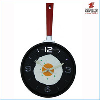 Kitchen Pan Wall Clock with Fried Egg Face Plastic Clock Red Handle Decoration Gift Promotion Kitchen Pan Clock