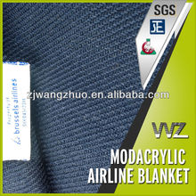 100% Modacrylic flame retardant airline blankets for sale popular Navy blue color woven blanket airlines