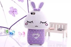 Hot Cute Soft Silicone 3D Cartoon Squinting Rabbit Phone Case For iPhone 4 4S 4G 5 5S 5G