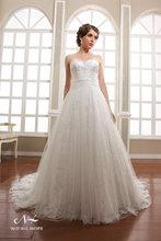cariño estiloun- línea con superposición de tul vestido de novia falda de perlas y bordados de encaje la cola muy larga