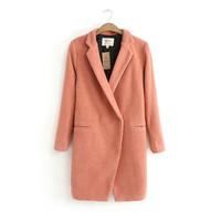 новый костюм воротник длинного пальто тонкий длинный рукав чистого цвета шерстяные пальто женское