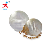 mouth blown clear ribbed glass globe ball lamp cover for sales /stripe glass light