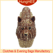 Brown color dog animal shaped crystal clutches IF-HC2066
