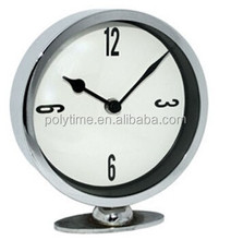 Small Silver bedside matelic table clock with curve glass lens
