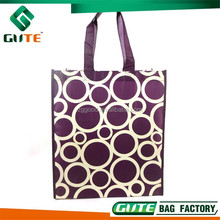 Newest design Purple Shopping bag cross stitching pp non woven tote bag promotional cloth bag