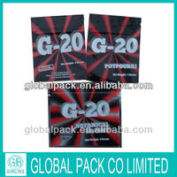 G-20 4g herbal potpourri ziplock bag/second generation spice incense bag with top zipper