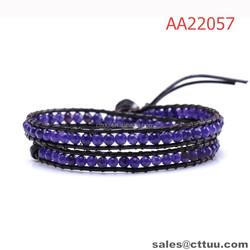 Pure handmade dark purple leather beaded wrap bracelet