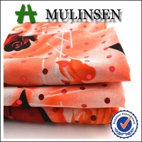 Mulinsen Textile Cheap Woven Polyester Wool Peach Printed Bead and Sequin Fabric