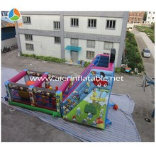 2016 cartoon digital printing inflatable obstacle course combo with cheap price