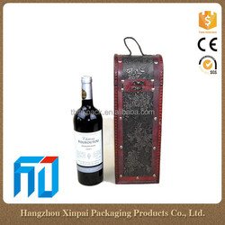 China Vintage Single Bottle Gift Wine Bag With Lock Wooden Wine Boxes