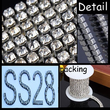 SS28 Round Cup Chain silver plating roll rhinestone chain
