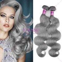 High quality wholesale brazilian body wave hair gray hair weave
