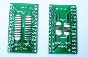 Односторонняя плата TSSOP28 /SSOP/SOIC/MSOP /TSSOP28 DIP28 1,27/0,65 IC 2,54 /pcb