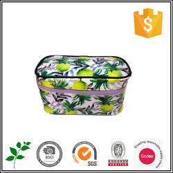 BSCI audited factory 2015 clutch fruit pattern multifunction round edge cosmetic bag
