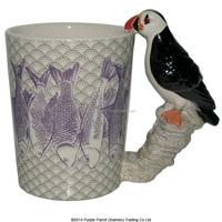 Sea Bird Puffin shaped handle ceramic mug cup