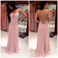 Fashion Lady Dresses Pink V-Neck Backless Lace Beaded Party Evening Chiffon Dress Maxi