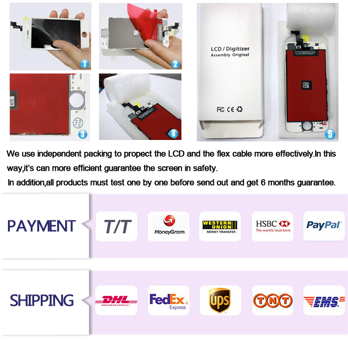 Warehouse stock mobile phone lcd for iphone 5 lcd screen, mobile phone lcd for iphone 5 complete