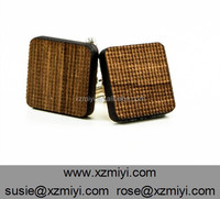 Rustic Burlap Textured Mens Geometric Wooden Square Cufflinks Patterned Cufflink Wholesale