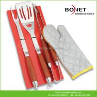 QTC0066 4Pcs Wood Handle With Tie Card BBQ Tool Set