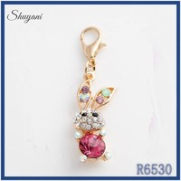Cheaper 2015 lobster clasp charms wholesale pink glass stone bead landing animal charms