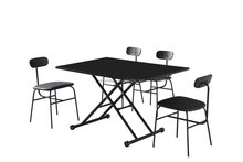 good design MDF up and down table with four chairs, dining table DT021 and dining chairDC9003-1