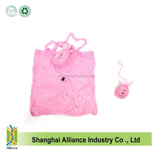 Fashion design for cute pink rabbit shape foldable tote bags animal reusage folding shopping bags