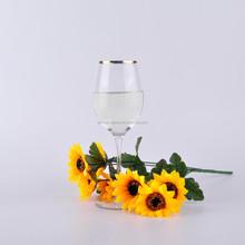 Mouth Blown gold rim white wine glass goblet