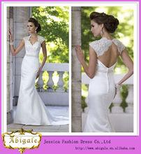linha de piso- comprimento do pescoço v manga cap backless satin laço de tule bordado corpete frisado vestido de noiva( hs094)