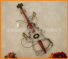 Recommended European creative new European style wrought iron wall violin metal crafts ornaments