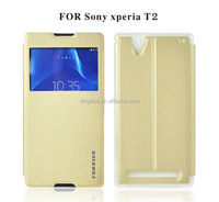 Factory quality cell phone fancy leather flip case for sony xperia t2 ultra