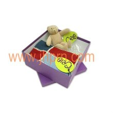 Nice white card paper purple printing gift box package for blanket&teddy toy