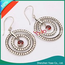 High Quality Sterling Silver Garnet Three Circle Earrings