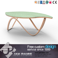Modern home furniture living room green leaf shaped coffee table , tempered glass coffee table , coffee table