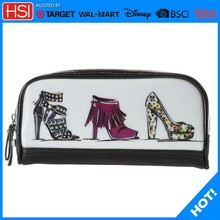 Tote pu unique cosmetic bags with high heels shoes logo