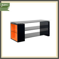 high end glass lcd tv stand wood tv wall units designs wall mounted tv unit ZL011