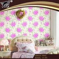 Bed decoration rose flower pvc wallpaper