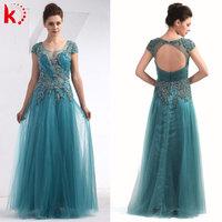 Chiffon fashion wedding gown open back chiffon evening dress green