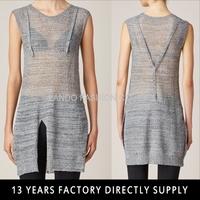 2015 new design sexy see through slit knit dress