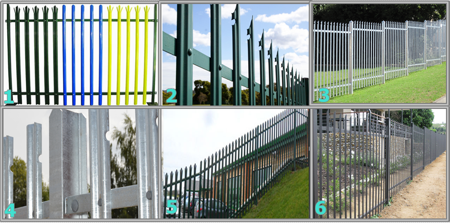 Triple pointed and splayed steel palisade fence and gate 9.png