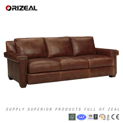 Tranditional American Leather Sofa,Top Leather Sofa for Sale (OZ-SF-040)